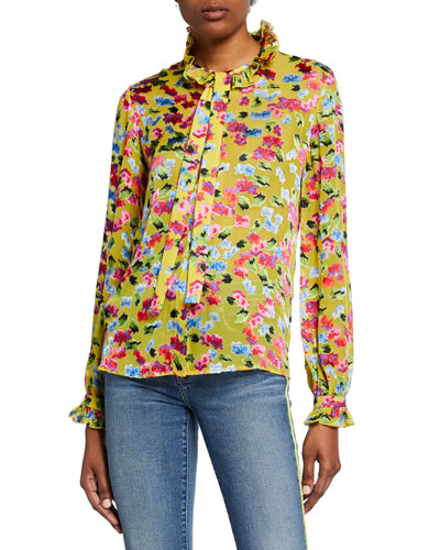 Emile Silky Floral-Print Button-Front Top