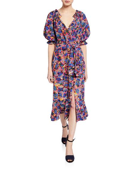 Saloni Dresses OLIVIA VELVET BURNOUT MIDI FLOUNCE DRESS