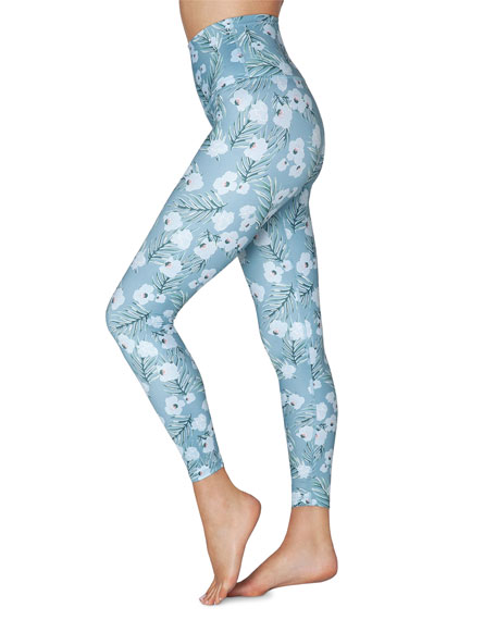 Lux Floral-Printed High-Waist Midi Leggings