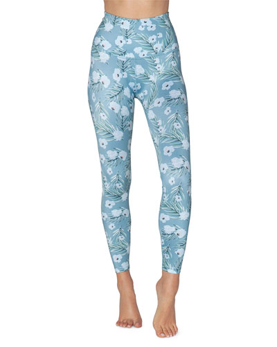 Lux Floral-Printed High-Waist Midi Leggings
