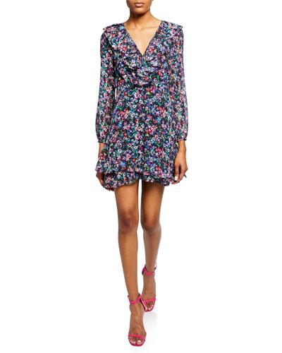 Jodie 3/4-Sleeve Floral-Print Silk Dress