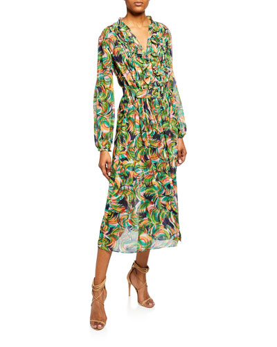 Silk Georgette Belted Ruffle Midi Dress
