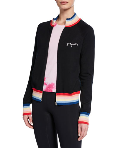 Striped Zip-Front Bomber with Embroidery