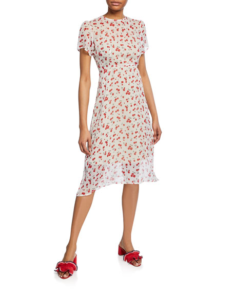 Hvn Dresses LINDY CHIFFON CHERRY-PRINT DRESS