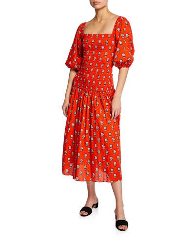 Harper Printed Square-Neck Dress