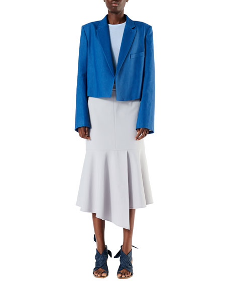 Anson Stretch Midi Skirt with Flounce Detail