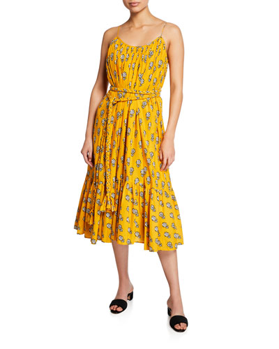 Lea Sleeveless Belted Floral Cotton Dress