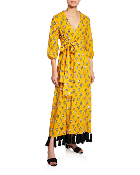 Rhode LENA TASSEL-HEM WRAP DRESS