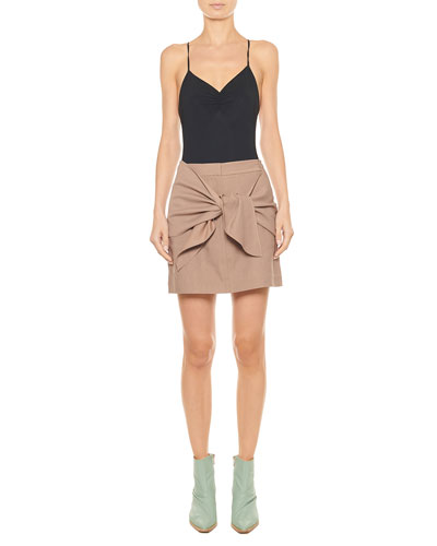 Linen-Viscose Suiting Tie-Front Short Skirt