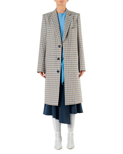 Zion Plaid Single-Breasted Long Coat