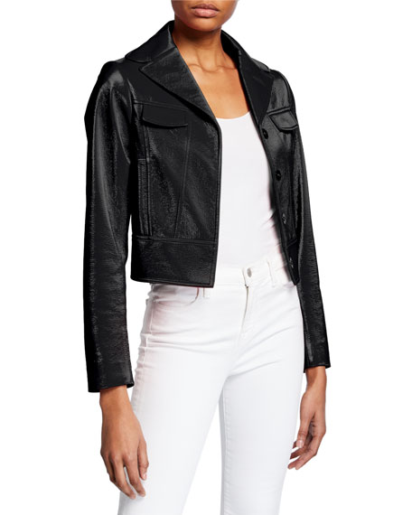 Elie Tahari Gigi Faux Leather Button-Front Cropped Moto