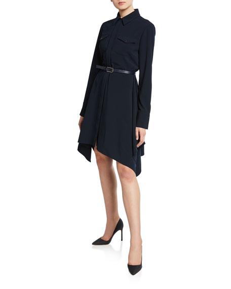 Elie Tahari Roxanne Button-Front Long-Sleeve Belted Dress