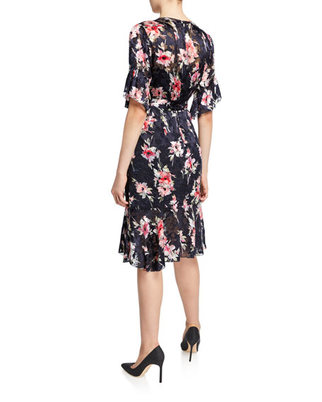 Isabelle Floral-Print Short-Sleeve Ruffle-Trim Dress