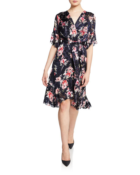 Elie Tahari Isabelle Floral-Print Short-Sleeve Ruffle-Trim Dress