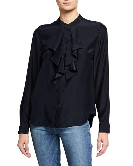 Ruffle Cascade Long-Sleeve Silk Button-Up Top