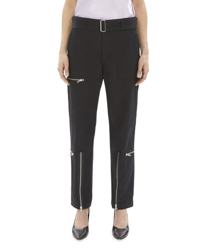 Flight Straight-Leg Belted Pants with Zippers