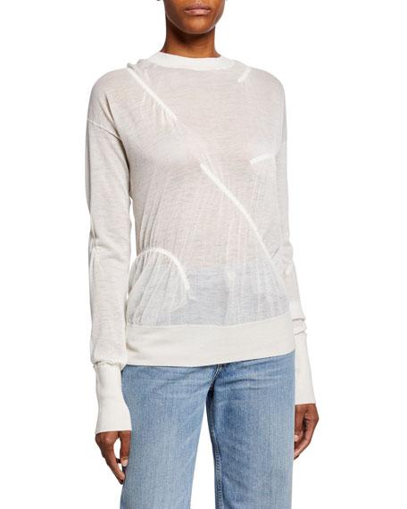 Elasticized Cashmere Crewneck Sweater