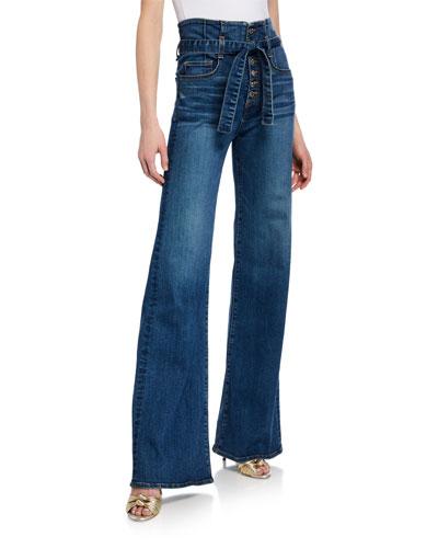 Rosanna Corset Wide-Leg Belted Jeans