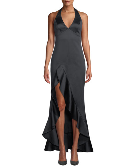 Halston Heritage Halter V-Neck High-Low Gown with Flounce