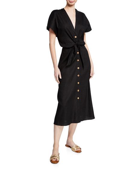 Veronica Beard Dresses GIANA TIE-FRONT LINEN SHIRTDRESS