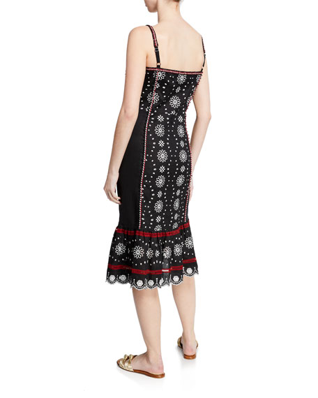 Giuliana Embroidered Button-Front Midi Dress