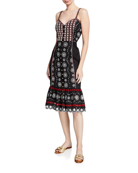 Veronica Beard Dresses GIULIANA EMBROIDERED BUTTON-FRONT MIDI DRESS