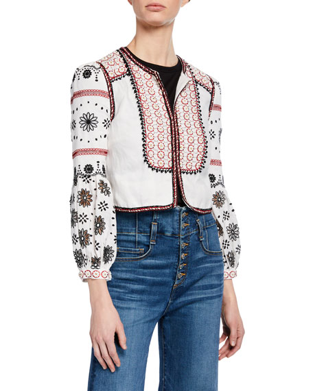 Shilin Cropped Linen Jacket w/ Floral Embroidery