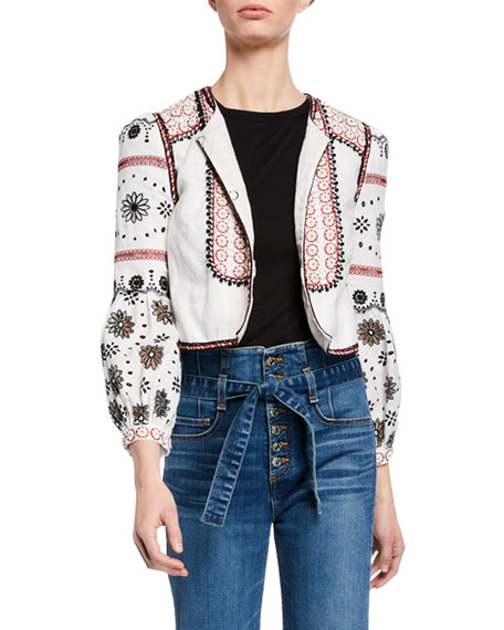Veronica Beard Jackets SHILIN CROPPED LINEN JACKET W/ FLORAL EMBROIDERY