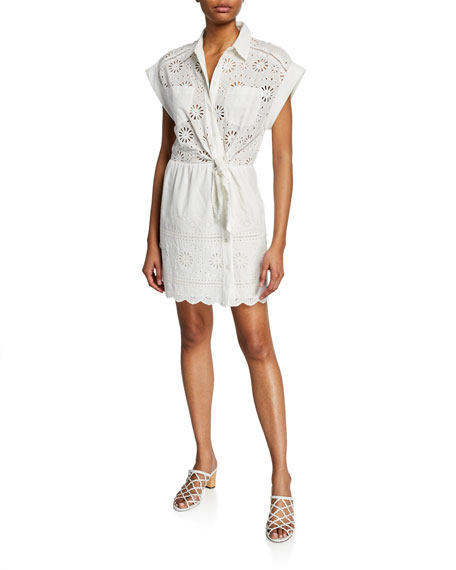 Veronica Beard Dresses BETTINA EYELET TIE-FRONT SHORT-SLEEVE DRESS
