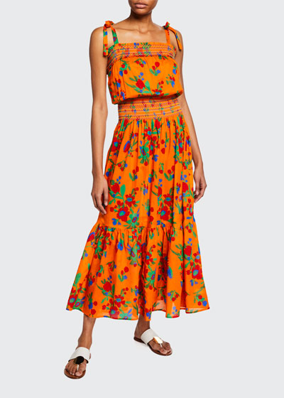 Floral-Print Smocked Cotton Maxi Dress