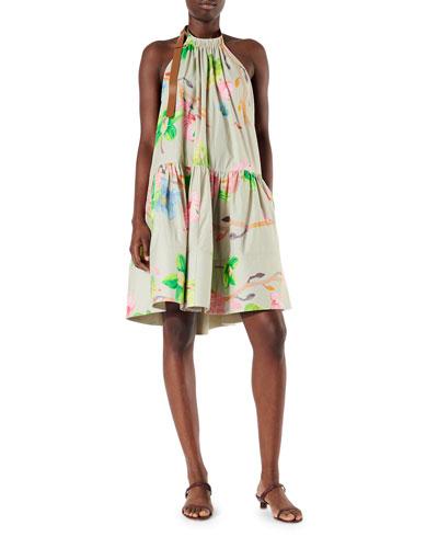 Linnea Floral Poplin Halter Dress
