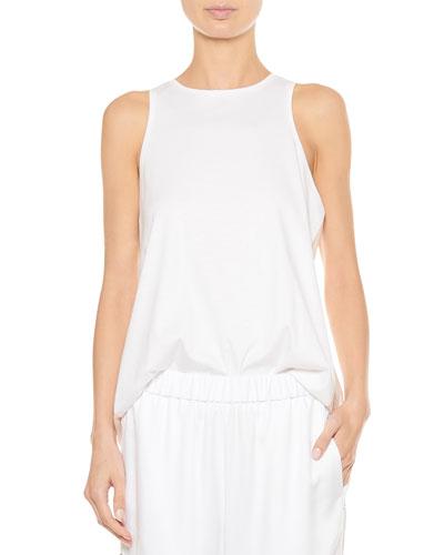 Mercerized Knit Shirred-Back Tank