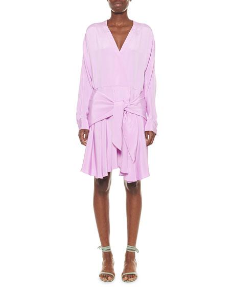 Tibi Dresses SILK DRAPED FAUX-WRAP DRESS