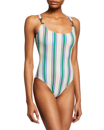 Striped Clip Tank One-Piece Swimsuit