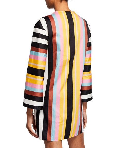Striped V-Neck Bracelet-Sleeve Beach Tunic