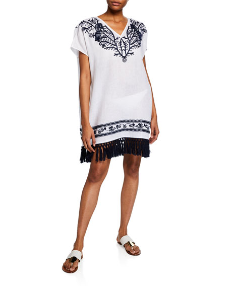 Tory Burch V-Neck Embroidered Beach Caftan w/ Tassel