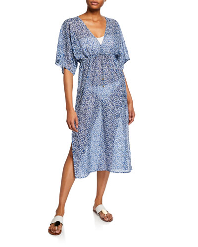 Printed Sheer Beach Midi Dress