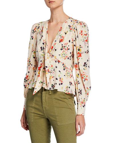 Payton Floral Tie-Front Silk Blouse