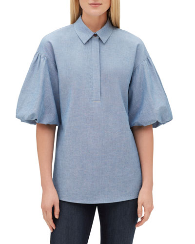 Pia Short Puff-Sleeve Blouse with Chain Trim