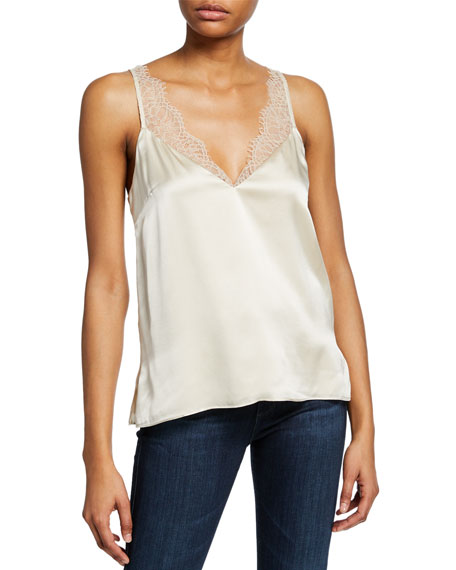 Cami Nyc Tops THE ARIANNA V-NECK SILK CAMI WITH LACE TRIM