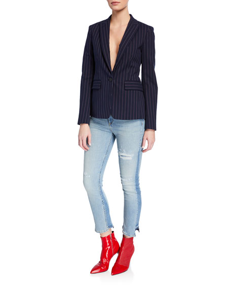 Road Distressed Crop Straight-Leg Jeans