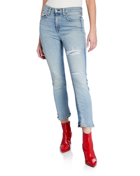 Rag & Bone Road Distressed Crop Straight-Leg Jeans