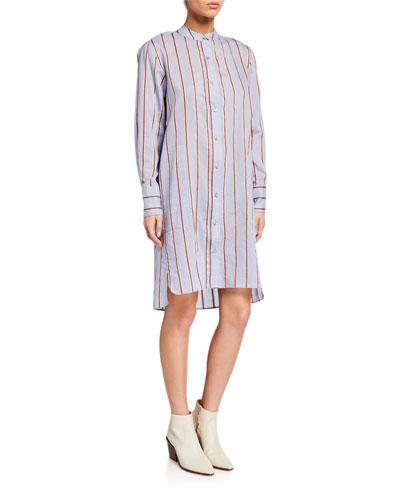 Yucca Striped Band-Collar Long-Sleeve Shirt Dress