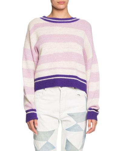 Glowy Striped Alpaca-Wool Sweater