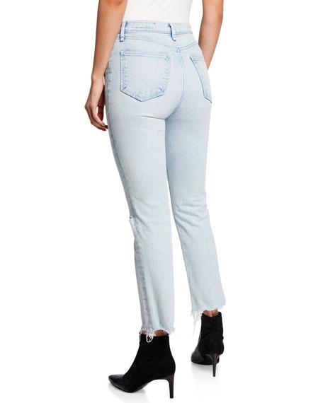 Mid-Rise Ankle Cigarette Jeans w/ Shredded Hem