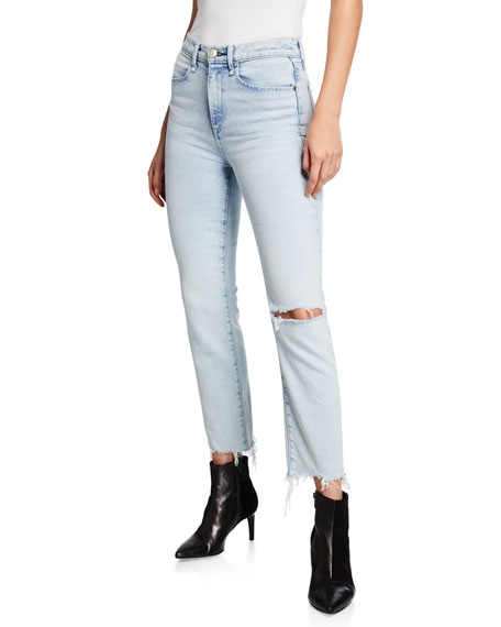 Image 1 of 1: Mid-Rise Ankle Cigarette Jeans w/ Shredded Hem
