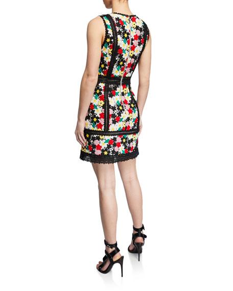 fbdb2de55349 Alice + Olivia Zula Floral-Embroidered V-Neck Sleeveless Party Dress