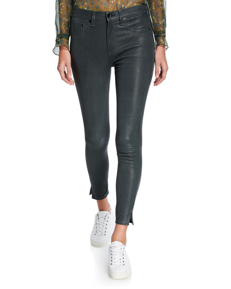 Image 1 of 1: High-Rise Ankle Skinny Leather Pants