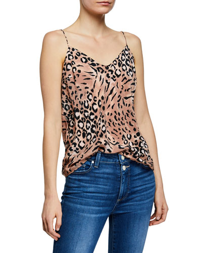 Cicely Animal-Print V-Neck Silk Camisole