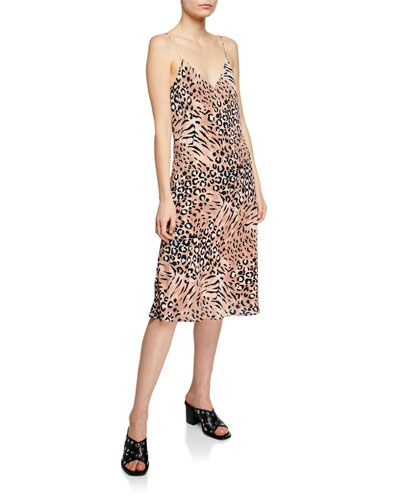 Cicely Animal-Print V-Neck Spaghetti-Strap Slip Dress